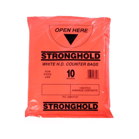 STRONGHOLD WHITE HDPE BUTCHER BAGS POUCHED