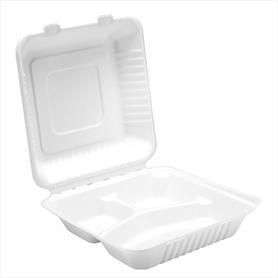 "9"" 3 COMPARTMENT BAGASSE MEAL BOX"