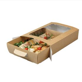 KRAFT WINDOW PLATTER BOX WITH TRAY INSERT (MEDIUM)