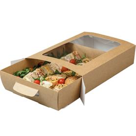 KRAFT WINDOW PLATTER BOX WITH TRAY INSERT (LARGE)