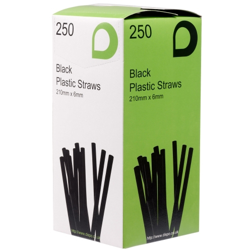 BLACK PLASTIC FLEXI STRAW