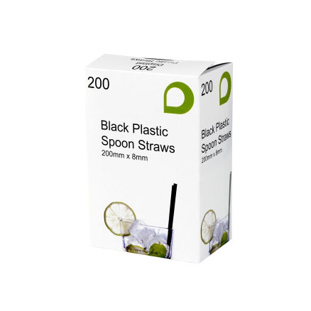 BLACK PLASTIC SPOON STRAWS