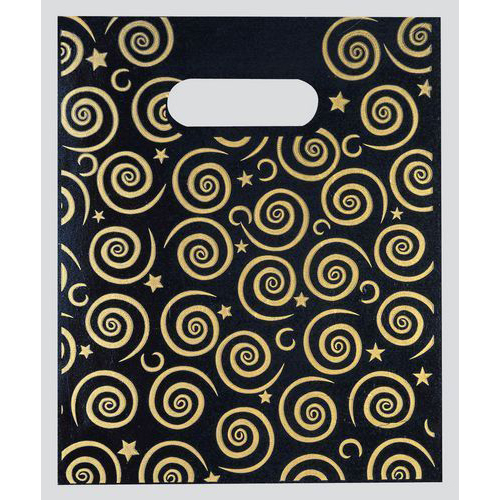 SMALL BLACK AND GOLD CARRIER BAG