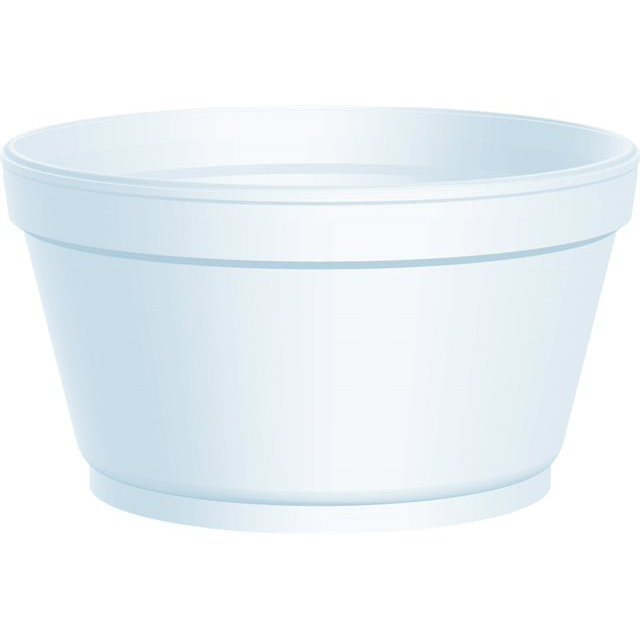 12OZ EXTRA SQUAT DART WHITE POLYSTYRENE CONTAINER