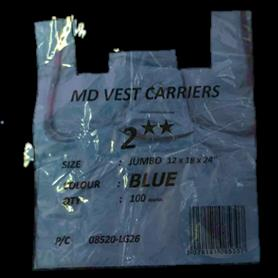 BLUE JUMBO VEST CARRIER BAG