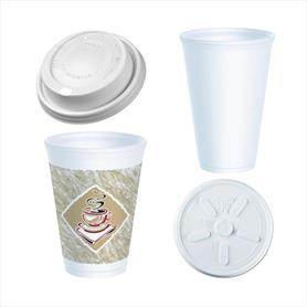 HOT POLYSTYRENE CUPS AND LIDS