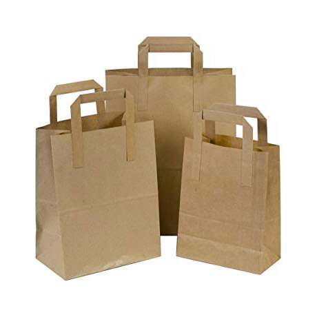 SMALL BROWN SOS FLAT HANDLE PAPER CARRIER BAG