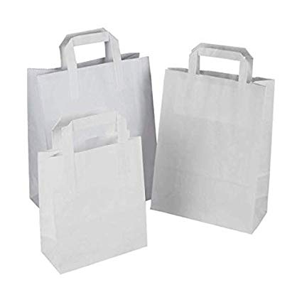 SMALL WHITE SOS FLAT HANDLE PAPER CARRIER BAG
